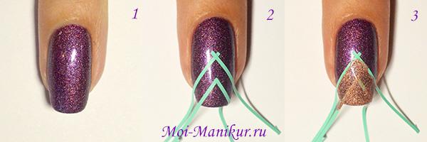 Фото урок - фиолетовый геометрический дизайн ногтей
