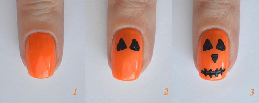 пошаговый фото урок: тыква на ногтях