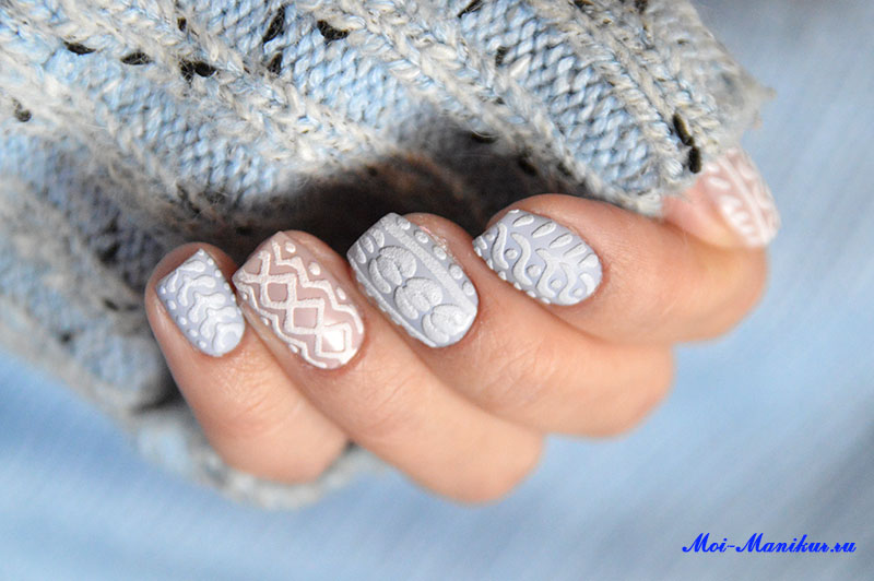 зимний дизайн ногтей свитерок объемный гель-лаком