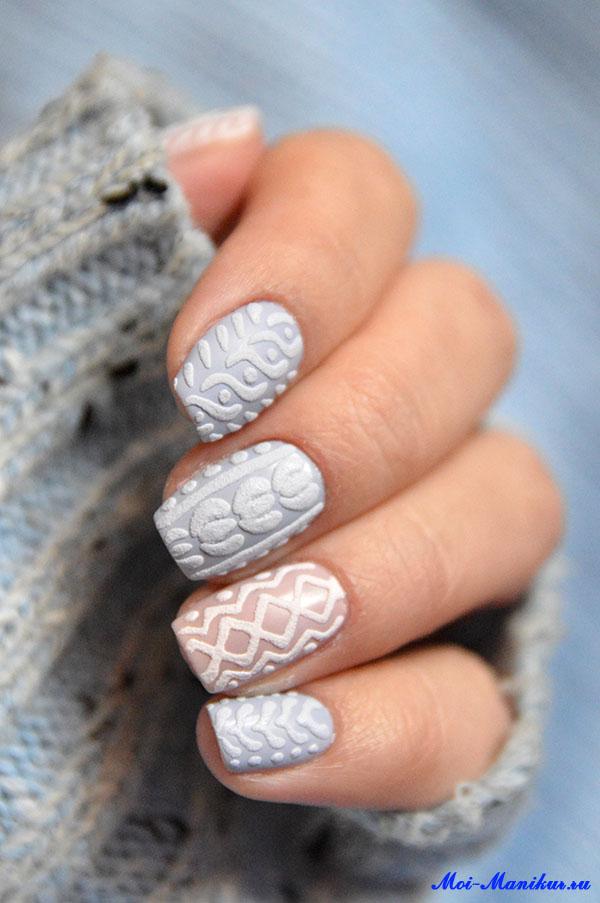 дизайн ногтей свитер гель-лаком