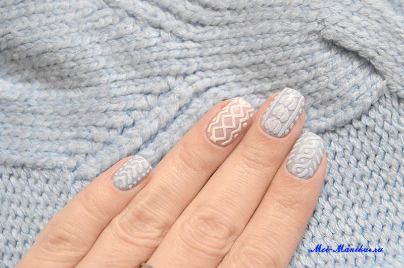 зимний дизайн ногтей свитер гель лаком видео урок