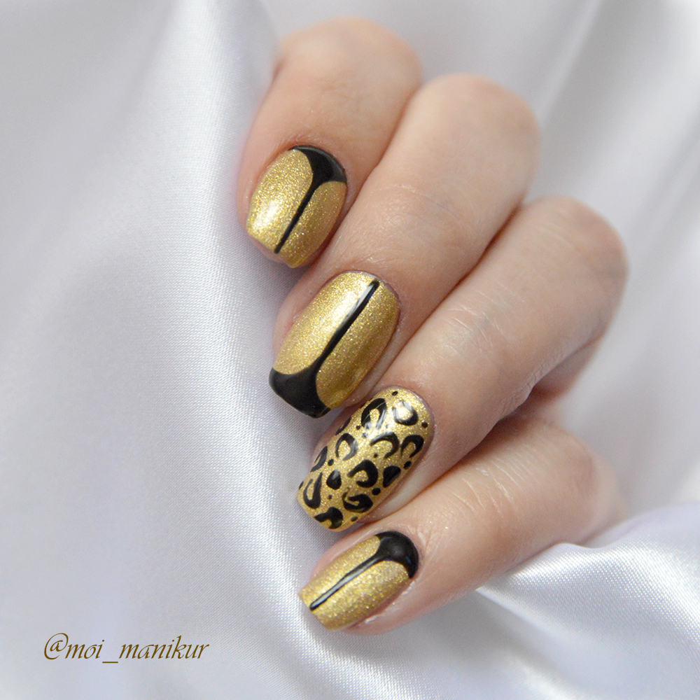 золотой дизайн гель лаком