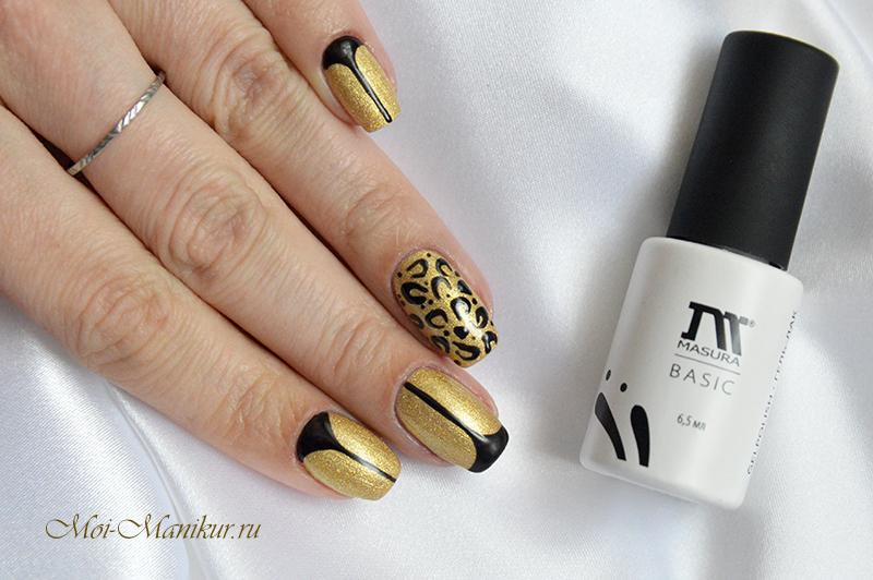 черно езолотой дизайн ногтей гель-лаком