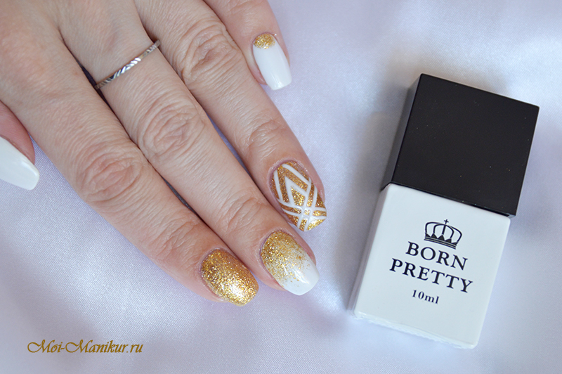 бело-золотой дизайн ногтей