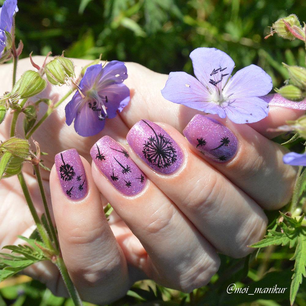 как нарисовать одуванчики на ногтях