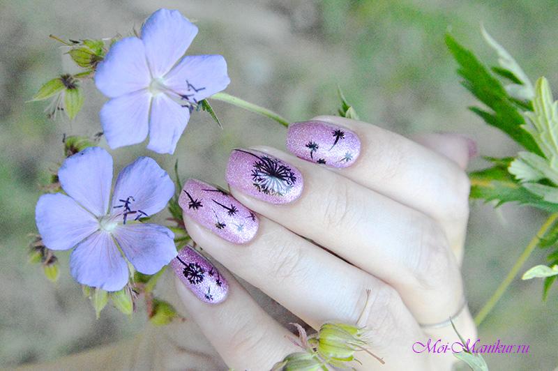 дизайн одуванчики на ногтях