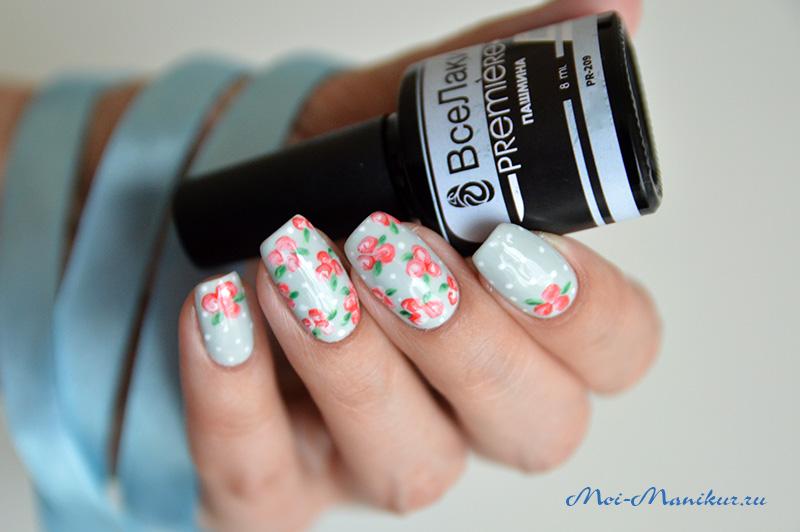 Цветы гель лаком на ногтях
