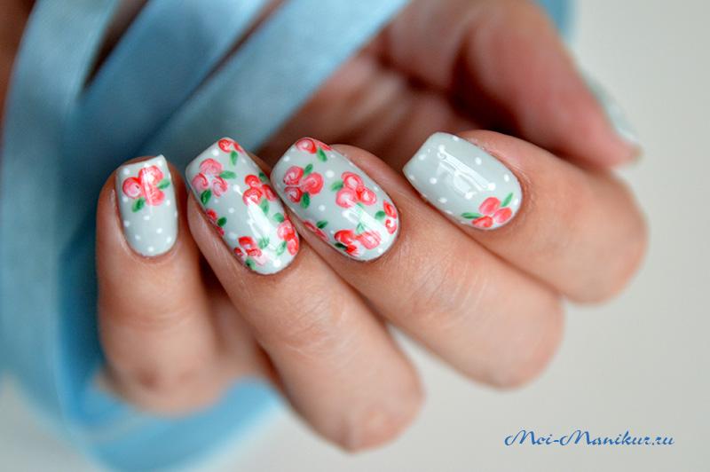 Как рисовать цветы гель лаком на ногтях