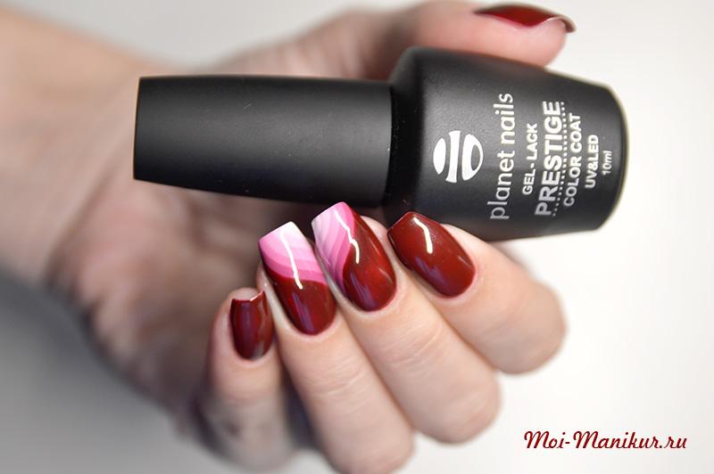 геометрический градиент на ногтях