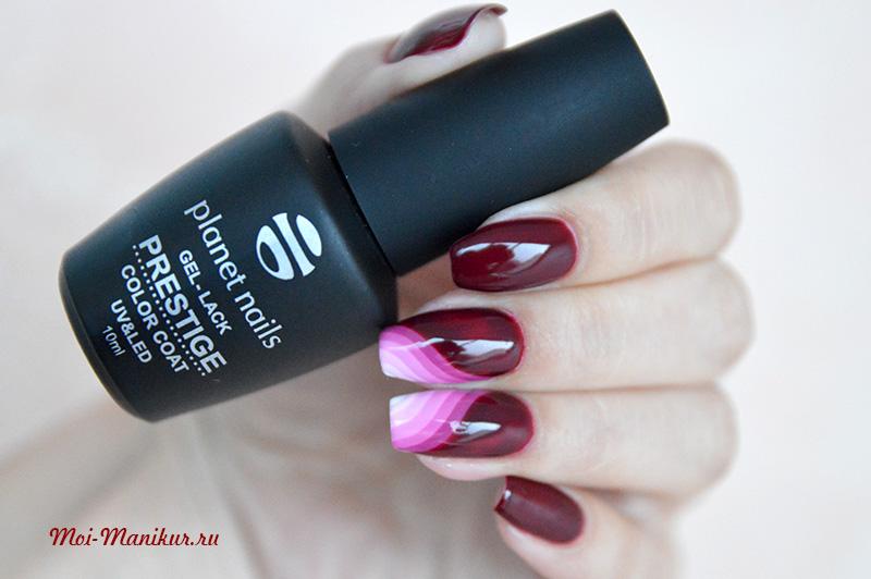 геометрический градиент дизайн гель лаком на ногтях