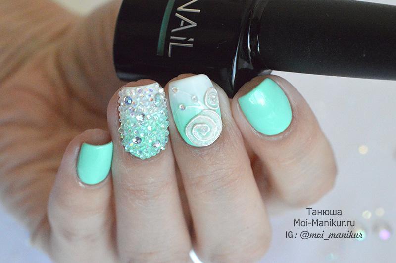дизайн ногтей с кристаллами Пикси