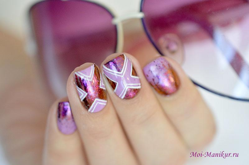 дизайн ногтей с использованием хлопьев Юки