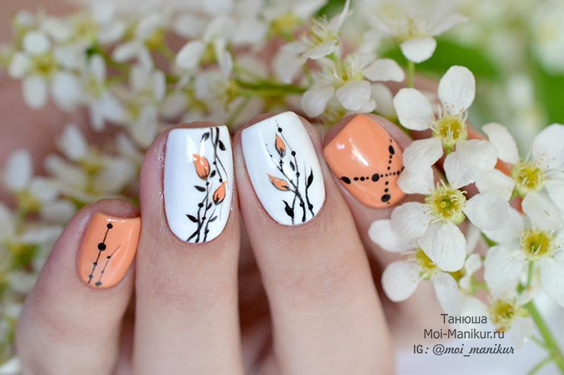 тонкие цветы на ногтях