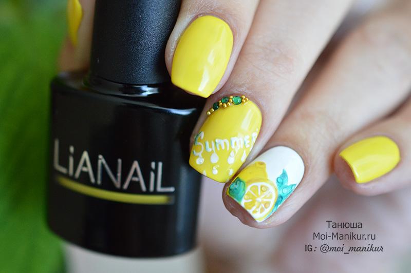 лимон на ногтях - летний дизайн гель лаком