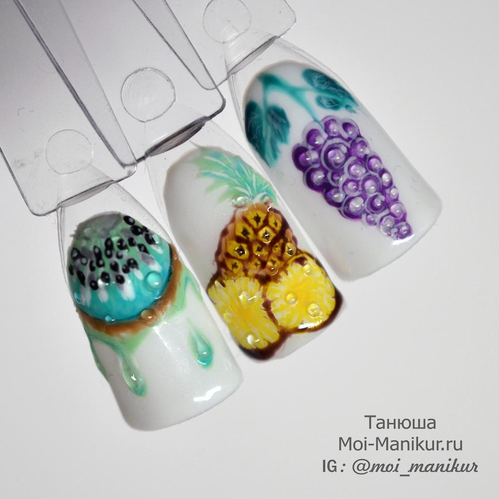 летние фрукты , модный дизайн ногтей 2017 гель лаком