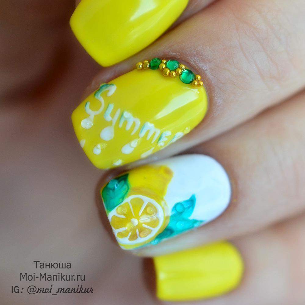 летний дизайн гель-лаком - лимон