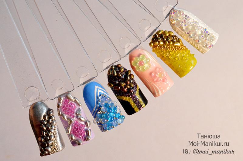 дизайн ногтей с камнями Синджу