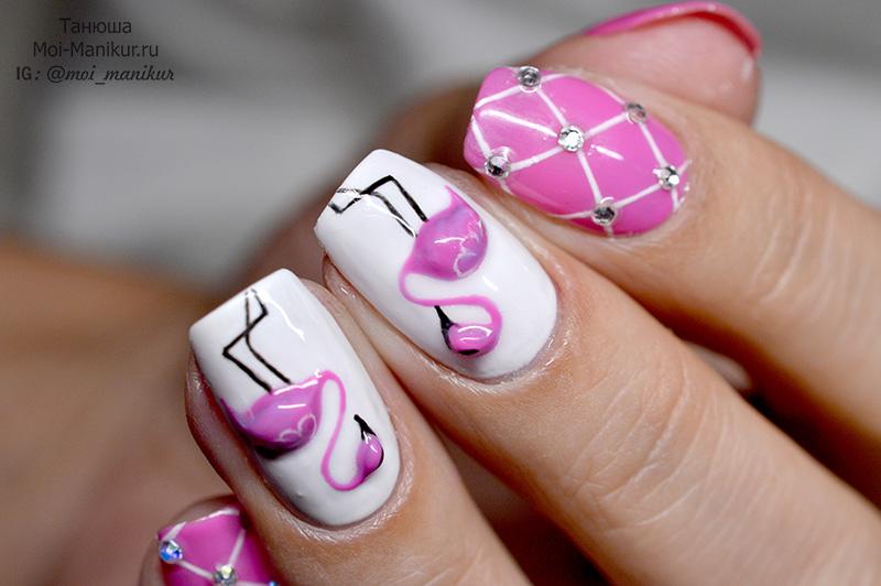 Рисунок Фламинго на ногтях