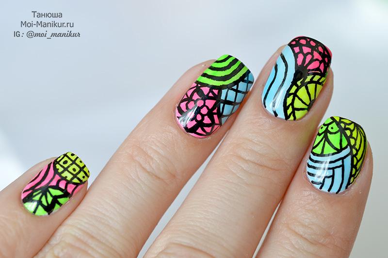 дизайн ногтей в стиле Дудлинг