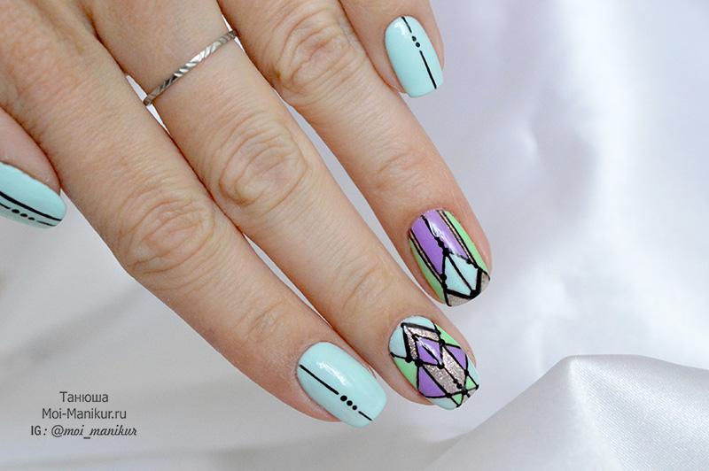 дизайн с пигментами для ногтей
