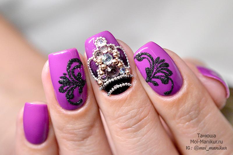 инкрустация стразами на ногтях
