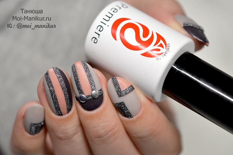 дизайн ногтей с полосками лентами