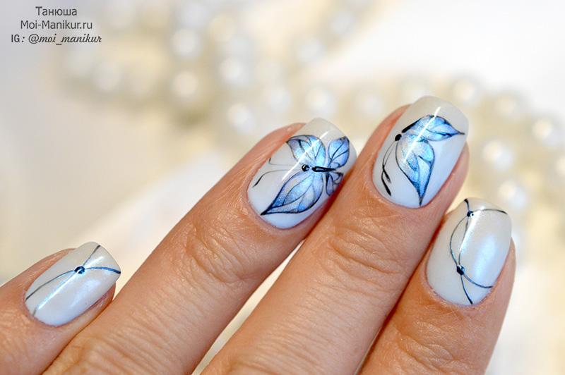 дизайн ногтей с бабочками на двух ногтях пошагово