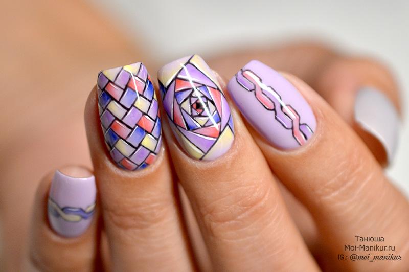 узорная геометрия на ногтях