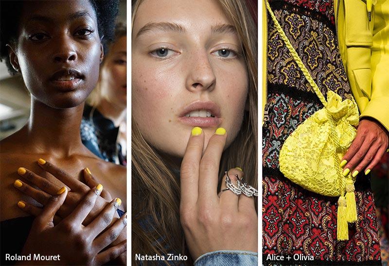 Модные цвета покрытия для ногтей в сезоне весна-лето 2019: желтый