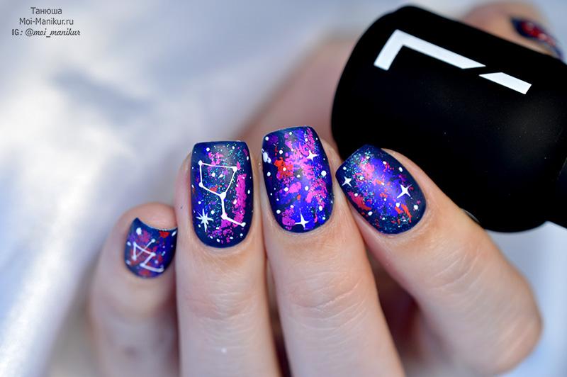 дизайн ногтей с гель краской Паутинка
