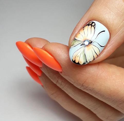 Дизайн ногтей с бабочками 2019