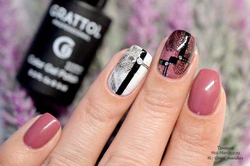 дизайн ногтей с отпечатками пальцев
