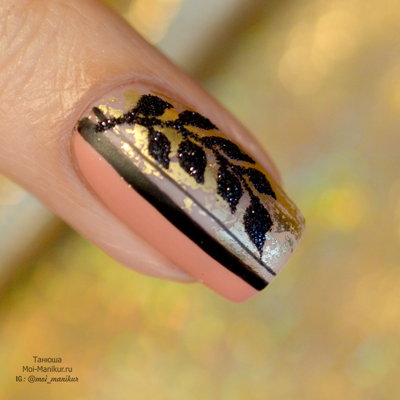 Осенние листья на ногтях гель лаком
