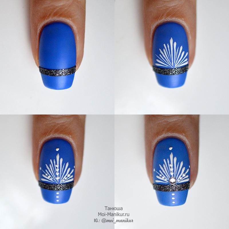 снежинки на ногтях: фото урок